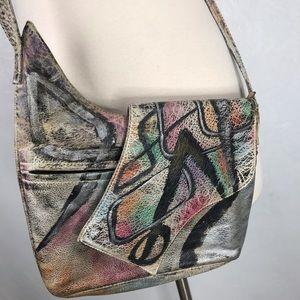 Vintage 80s Botany Painted Leather Crossbody Bag
